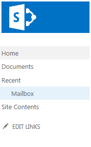 Access Site mailboxes in SharePoint under Quick Launch navigation